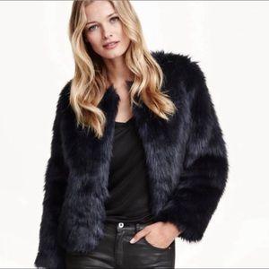 H&M Dark Green Ombre Faux Fur Short Coat
